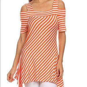 Tops - Orange and white stripe tunic. NWOT